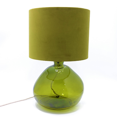 Recycled Blown Glass Table Lamp with Choice of Flex   39cm Olive Green