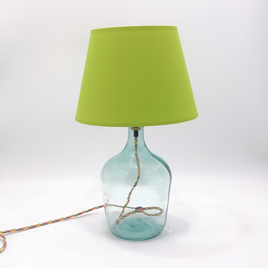 Recycled Glass DemijohnTable Lamp with Choice of Flex | 36cm Natural Recycled