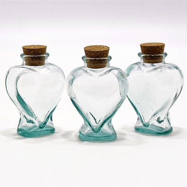 Recycled Glass Heart Bottle / Storage Jar  | Set of 3 Clear  |  With Cork