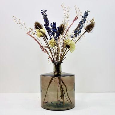 Dried Flower Bouquet in Recycled Glass Vase | Grey Vase | Blue Flower Mi