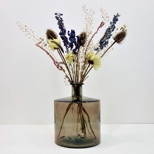 Dried Flower Bouquet in Recycled Glass Vase   Grey Vase   Blue Flower Mi