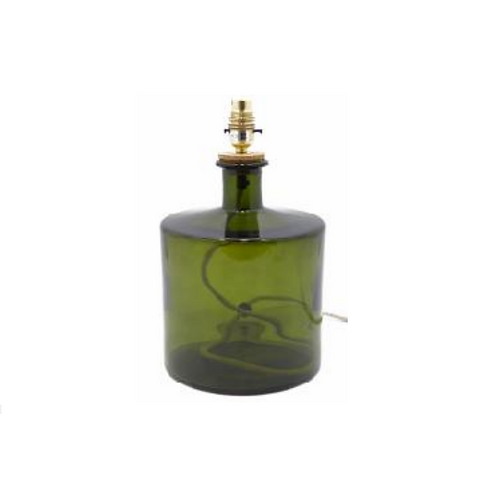 Recycled glass Frances Lamp small olive green