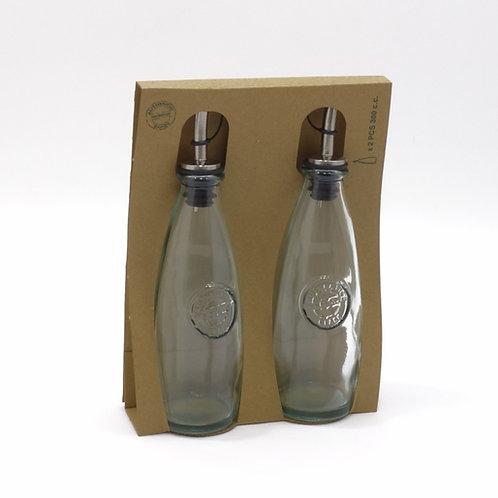 Recycled glass 300ml authentic oil vinegar bottle gift set
