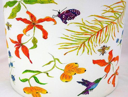 """Handmade Printed Lamp Shade   12"""" to 20"""" Diameter   Hummingbird Bee White/Orange"""