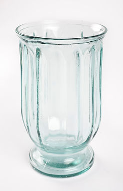 Recycled Glass Vase  |  25cm Fluted Hurricane