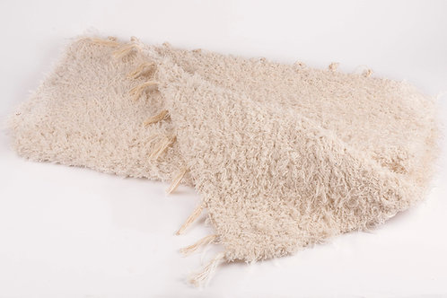Recycled cotton rug natural folded