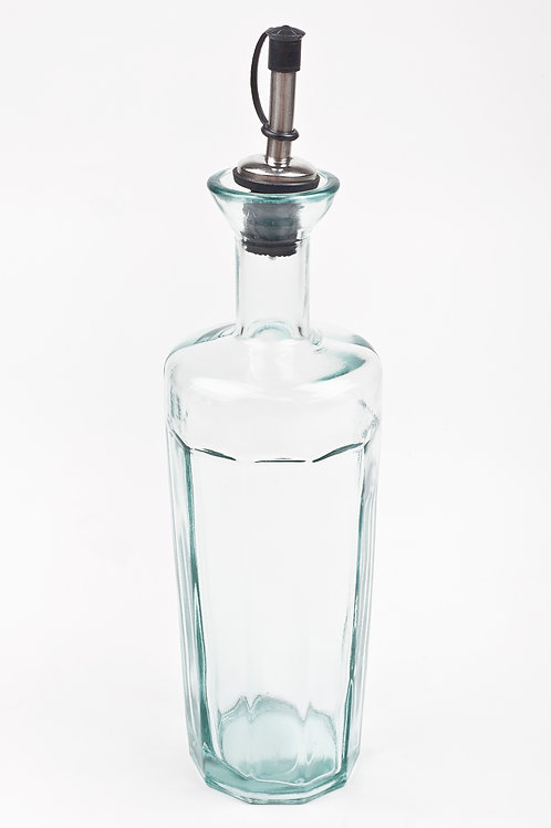 Recycled glass 500ml oil bottle with metal pourer