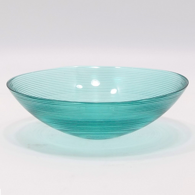 30cm Recycled Glass Ribbed Bowl