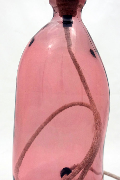 Recycled Glass Table Lamp | 41cm Pink | Blown Glass
