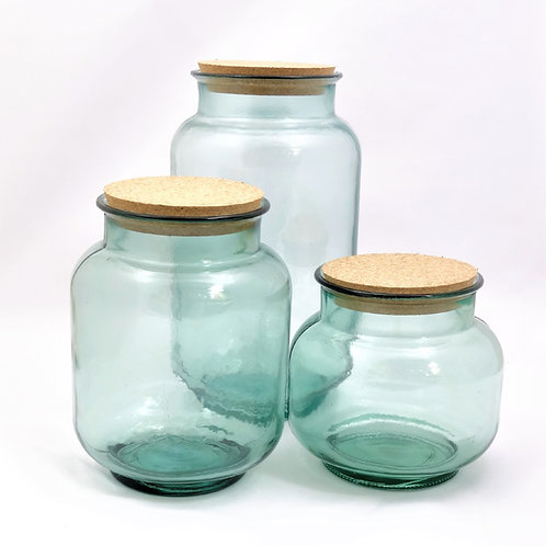 recycled glass storage jars