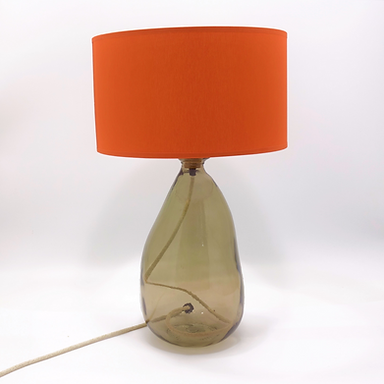 Recycled Glass Table Lamp with Choice of Flex | 42cm Smoke Grey | Blown Glass