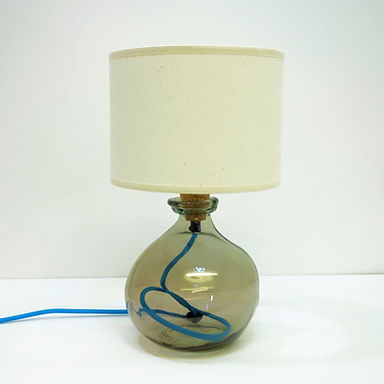 Recycled Blown Glass Table Lamp with Choice of Flex | 24cmSmoke Grey