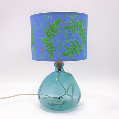 Recycled Blown Glass Table Lamp with Choice of Flex   29cm Light Blue