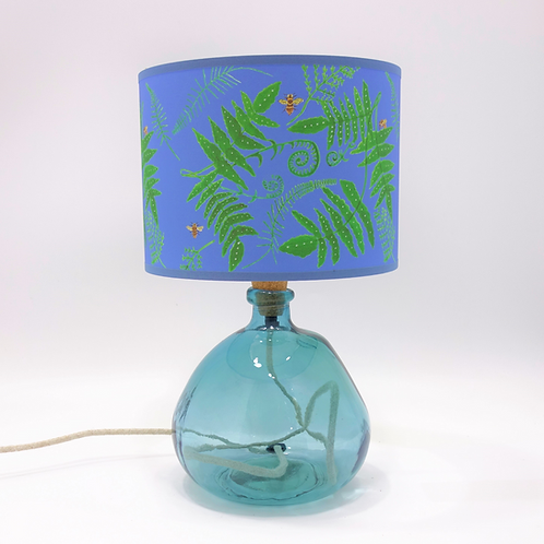 recycled glass bottle lamp light blue shade