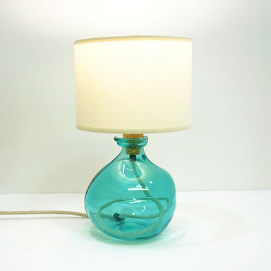 Recycled Blown Glass Table Lamp with Choice of Flex   24cm Aqua Blue