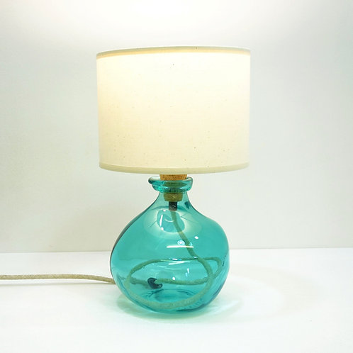 Recycled Blown Glass Table Lamp with Choice of Flex | 24cm Aqua Blue
