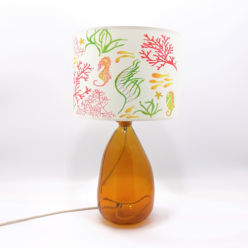 recycled glass simplicity lamp base amber