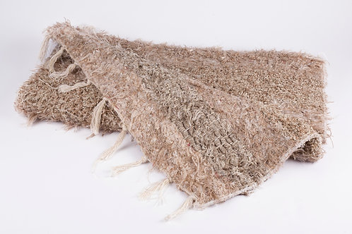 Recycled cotton rug beige folded
