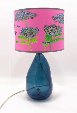 Recycled Blown Glass Table Lamp with Choice of Flex | 42cm Petrol Blue