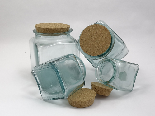 Recycled glass storage jars square with cork lid range