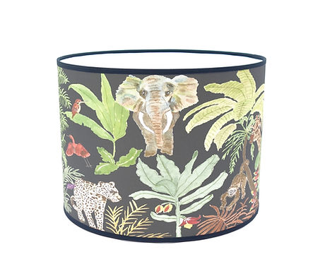 """Handmade Printed Lamp Shade   12"""" to 20"""" Diameter   Jungle in Black"""