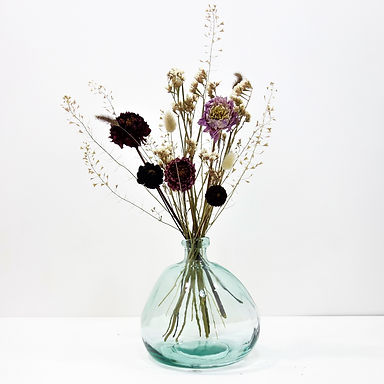Dried Flower Bouquet in Recycled Glass Vase   Clear Vase   Pink Flower Mi