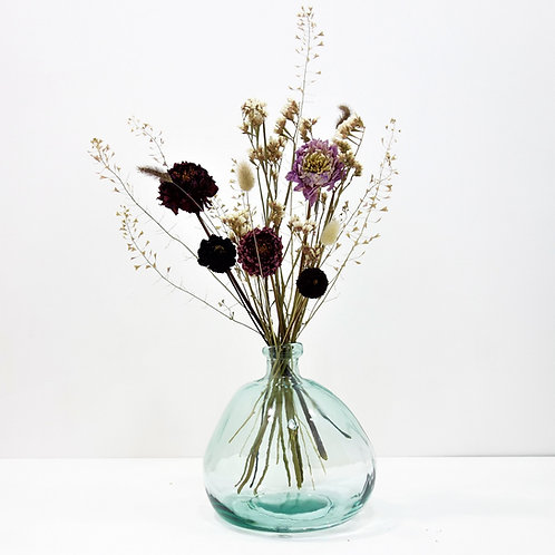Dried Flower Bouquet in Recycled Glass Vase | Clear Vase | Pink Flower Mi