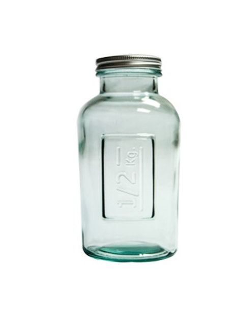 Recycled Glass Storage Jar  | 500ml  |  Set of 3 with a Screw Top Lid
