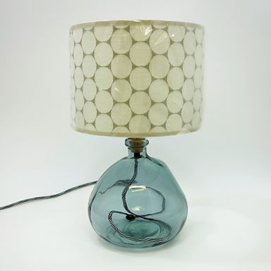 Recycled Blown Glass Table Lamp with Choice of Flex | 29cm Grey