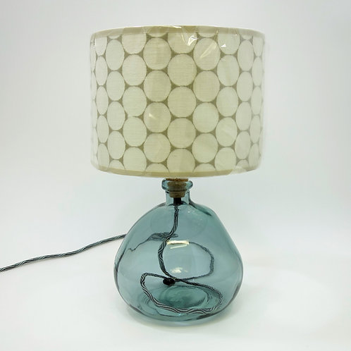 Recycled Blown Glass Table Lamp with Choice of Flex   29cm Grey