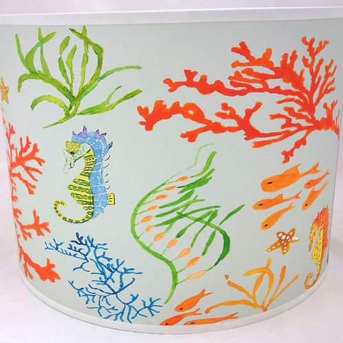 Seahorse lampshade white orange
