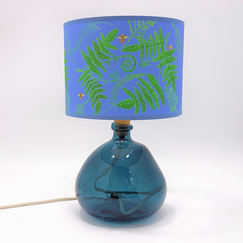 recycled glass bottle lamp blue