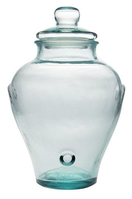 Recycled glass 45cm Mielera storage jar with a lid