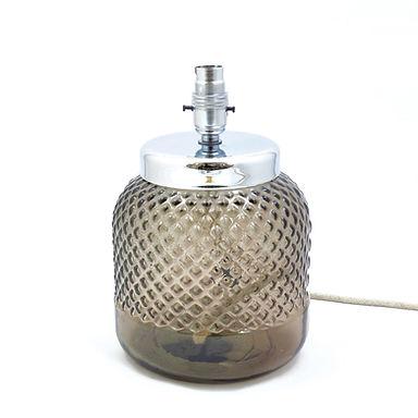 Recycled Glass Diamond Lamp Base with Choice of Flex | 26cm Smoke Grey
