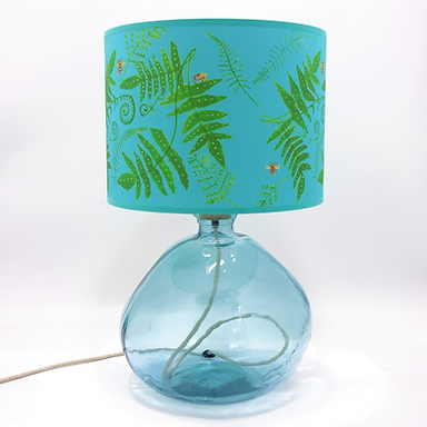 Recycled Blown Glass Table Lamp with Choice of Flex | 39cm Light Blue
