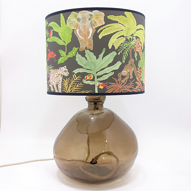 Recycled Blown Glass Table Lamp with Choice of Flex | 39cm Smoke Grey