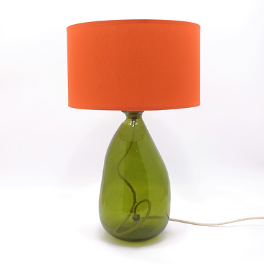 Recycled Blown Glass Table Lamp with Choice of Flex   42cm Olive Green