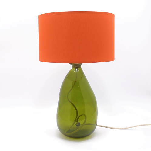 recycled blown glass lamp base olive green with shade