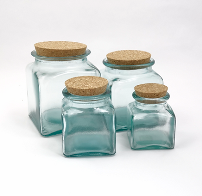 """Recycled Glass Storage Jar  