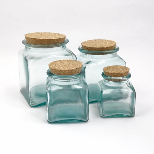 Recycled glass 1.5l square storage jar