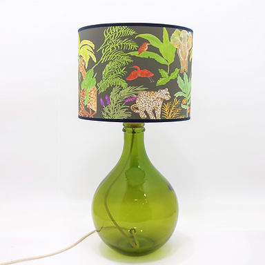 Recycled Glass Table Lamp with Choice of Flex | 49cm Olive Green