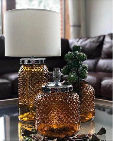 amber recycled glass diamond vase