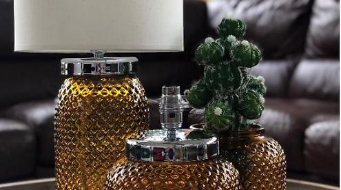 26cm Diamond Recycled Glass Lamp Amber (1/case)
