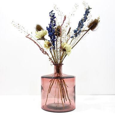 Dried Flower Bouquet in Recycled Glass Vase | Pink Vase | Blue Flower Mix