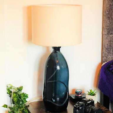 Recycled Blown Glass Table Lamp with Choice of Flex   41cm Petrol Blue