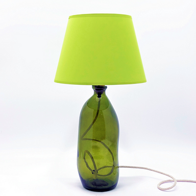 Recycled Blown Glass Table Lamp with Choice of Flex   41cm Olive Green