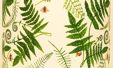 Fern and Bees Lampshade White