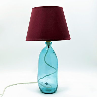 Recycled Blown Glass Table Lamp with Choice of Flex | 41cm Light Blue