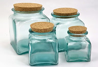Square Storage Jars with a Cork Lid (6/case)