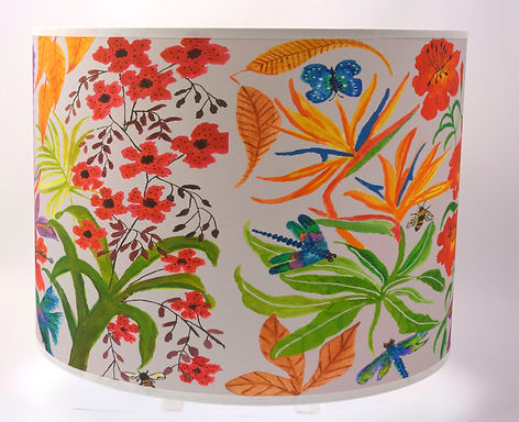 "Handmade Printed Lamp Shade | 12"" to 20"" Diameter | Bright Flowers Soft Grey"